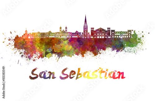 Fototapeta premium Panoramę San Sebastian w akwareli ze ścieżką przycinającą