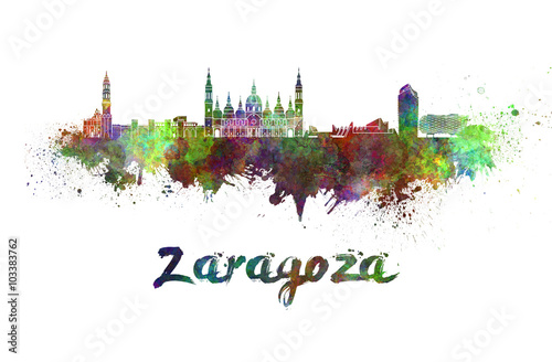 Zaragoza skyline in watercolor splatters with clipping path