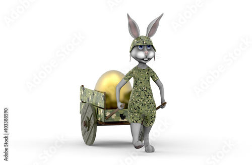 Fototapeta Królik wiozący na wózku złote jajko obraz