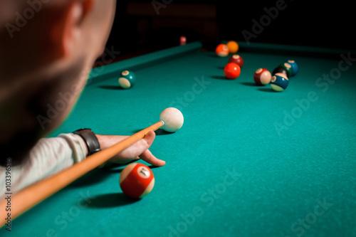 Fotografie, Tablou  Fragment of the pool billiard game in process