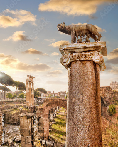 Famous Roman ruins in Rome, Italy - 103397903