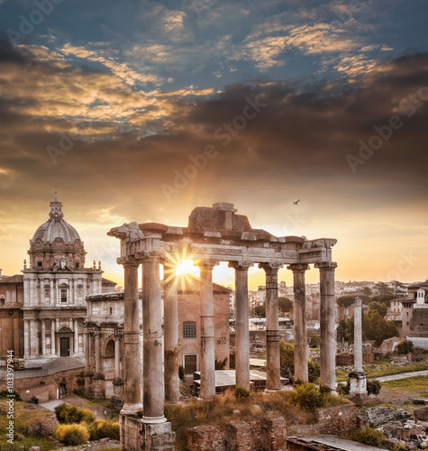 Famous Roman ruins against sunrise in Rome, Italy Canvas Print