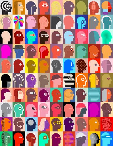 Obrazy wieloczęściowe kolorowe kwadraty z głowami w różnych kolorach