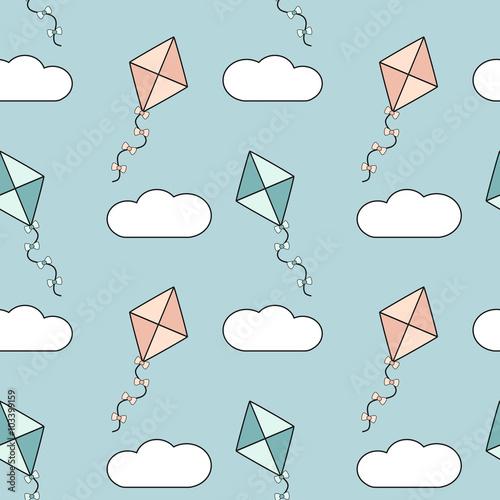 sliczne-kolorowe-kreskowka-latawce-w-blekitne-niebo-wektor-wzor-tla-ilustracji