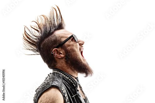 Photo  Angry young punk rocker screaming