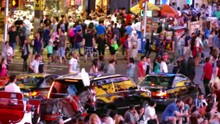 Crowd New York City Street Times Square Manhattan USA People Tourism Pedestrians Taxi Tourists Footage Traffic Night Travel HD Timelapse