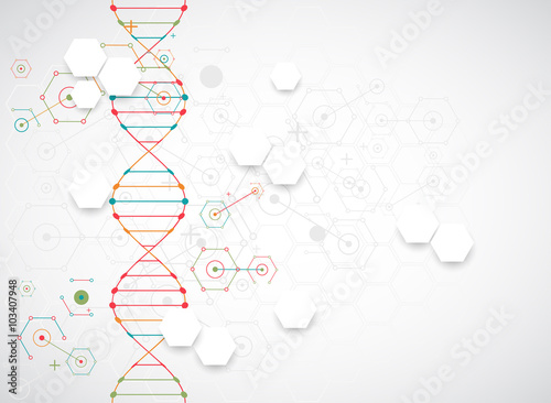 Canvastavla Science template, wallpaper or banner with a DNA molecules.