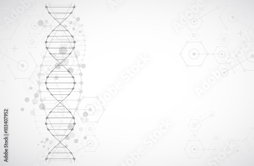 Fotografiet Science template, wallpaper or banner with a DNA molecules.