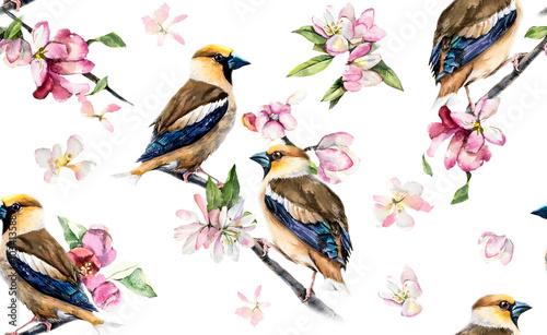 grube-bez-szwu-ptaki-na-galezi-z-kwiatami