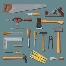 Old Carpenter Tools Vector Set