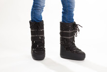 Black Moon Boots In Rhinestones.