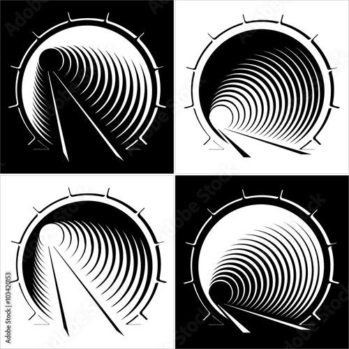 ustawić abstrakcyjne obrazy tunelu w górach, czarno-białe