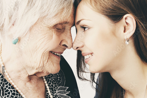 Beautiful girl and her grandmother