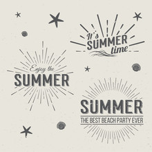 Set Of Summer Time Logo Templates. Isolated Typographic Design Logos