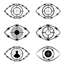 The Symbol Set Of The Eye, Target, Barbed Wire, Isolated On White. The Social And Political Issue.