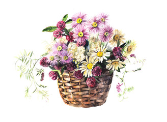 Panel Szklany Skandynawski Bouquet from meadow flowers in the basket. Flower backdrop. Watercolor hand drawn illustration