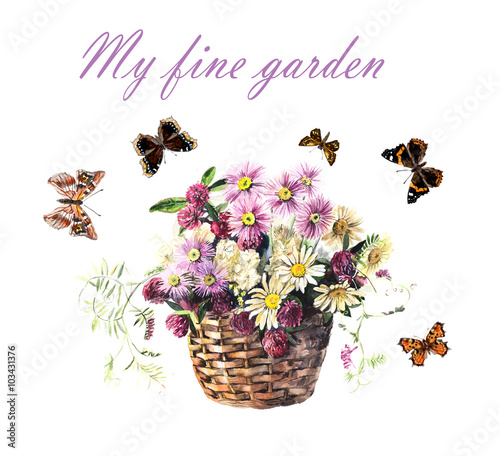Foto op Aluminium Bloemen vrouw Bouquet from meadow flowers in the basket and butterflies. Flower backdrop. Watercolor hand drawn illustration