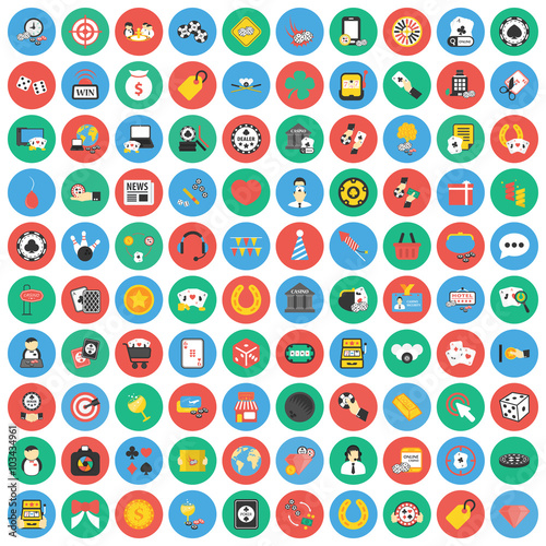 Платно  Gambling, game, Poker, casino 100 flat icons