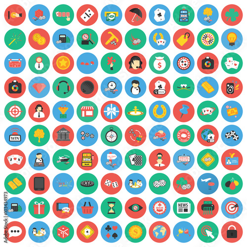 Gambling, game, Poker, casino 100 flat icons плакат