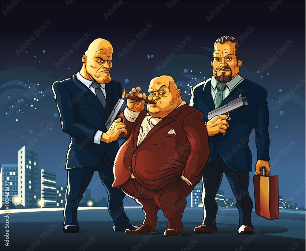 Fototapeta Mafia  Three men of a mafia clan arrived at the meeting for a exchange secret suitcase.