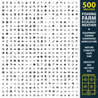 Fishing, farm, ecology set 500 black simple icons. Equipment, farmer, gardening icon design for web and mobile.