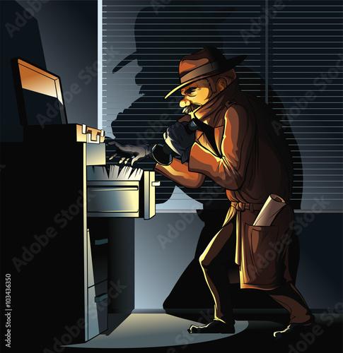 Fotografía  Spy seeking documents  Spy seeking Important Documents in office