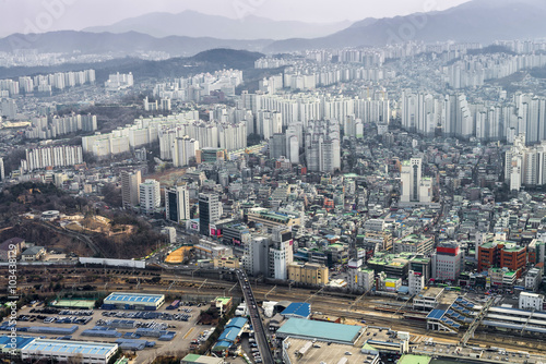 cityscape / skyline, Seoul city, south korea in fog winter seaso Poster
