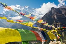 Praying Flags On Mountain Back...