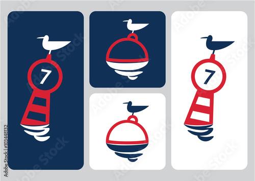 seagull on buoy vector illustration Canvas Print
