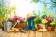 Leinwandbild Motiv Frühling, Garten, Gartenarbeit, Gartenwerkzeug, Blumen
