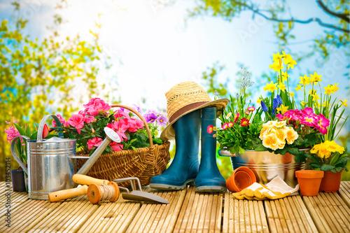 Aluminium Prints Garden Frühling, Garten, Gartenarbeit, Gartenwerkzeug, Blumen