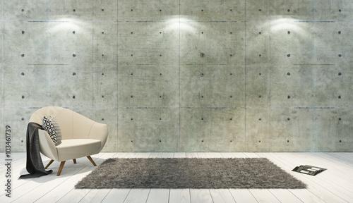 Garden Poster Concrete Wallpaper concrete wall loft style decor with single seat, background, tem