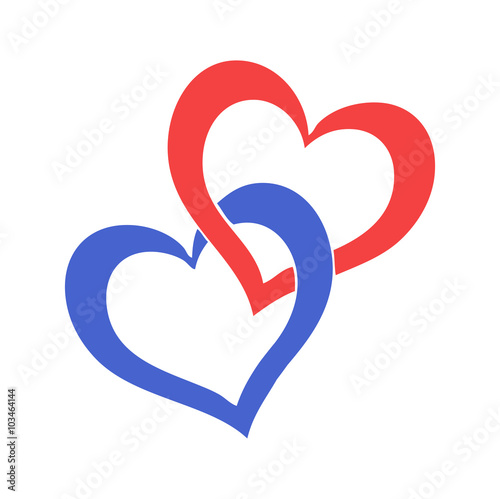 Two Hearts Vector Isolated On White Due Cuori Vettoriali Isolati Su