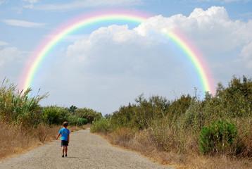 Niño, camino, arco iris, sendero, campo