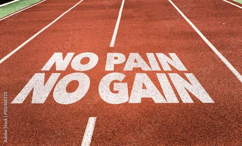 Canvas Print No Pain No Gain written on running track