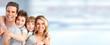 Leinwanddruck Bild - Happy family with kids
