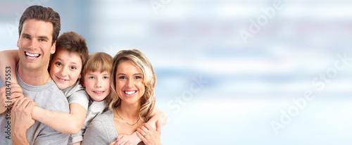 Obraz Happy family with kids  - fototapety do salonu