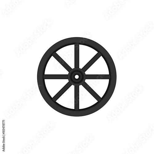 Fotografía  Vintage wooden wheel in black design