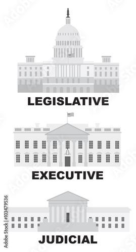 Fotografía Three Branches of US Government Vector Illustration