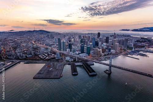 Aerial of San Francisco at sunset Poster