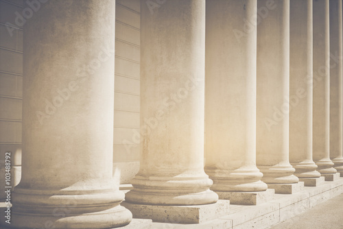 Pillars to a Courthouse with Vintage Style Filter Canvas Print