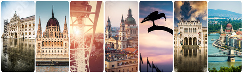set of beautiful buildings and sights of Budapest
