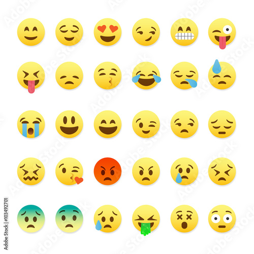 Fotografie, Obraz  Set of cute smiley emoticons, emoji flat design