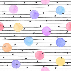 Tapeta Watercolor texture in pastel colors. Hand drawn seamless abstract background for print on fabric or wrapping paper. Watercolor spots with black stars and dots isolated on white background.