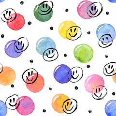 Tapeta Watercolor texture. Aquarelle spots with ink smileys hand drawn with dry brush. Seamless pattern. Watercolor pattern with colorful dots and black circles isolated on white background.