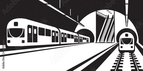 Fotografie, Obraz  Platform of subway station with trains - vector illustration