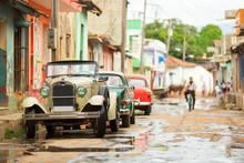 Old Convertible Car On Street Of Trinidad, Cuba