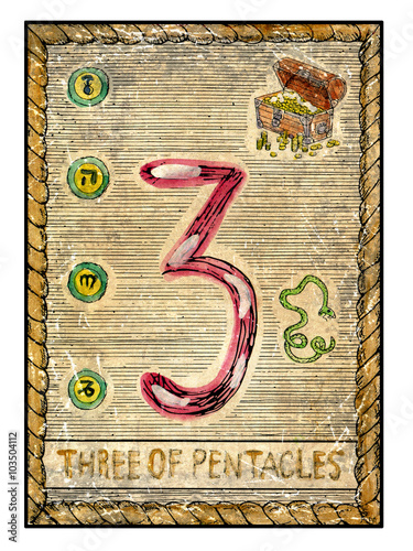 The old tarot card  Three of Pentacles - Buy this stock