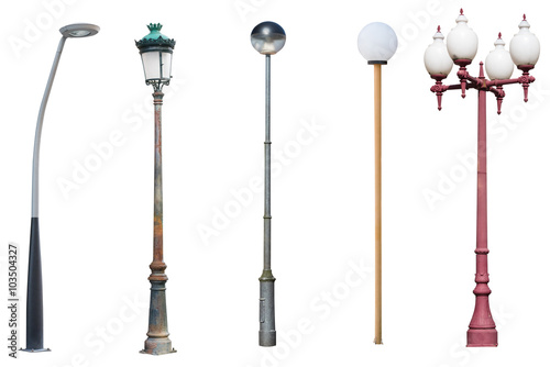 street light poles isolated on white background