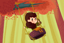 Creative Illustration And Innovative Art: Girl On The Tire Swing. Realistic Fantastic Cartoon Style Artwork Scene, Wallpaper, Story Background, Card Design